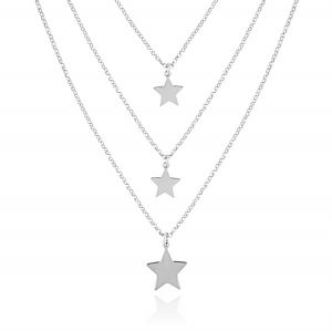 Three chains necklace with stars - variable colour