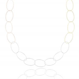 Necklace with diamond wire oval of different sizes  - variable colour