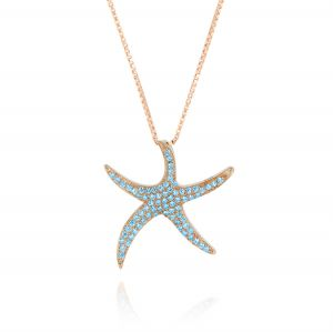 Starfish necklace with cubic zirconia - variable color