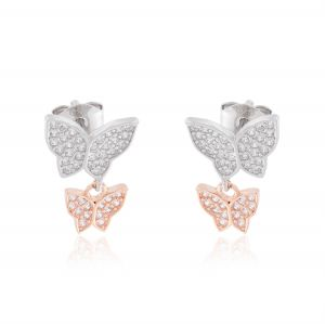 Butterflies earrings with cubic zirconia - variable color