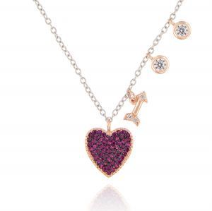Necklace with heart and arrow with cubic zirconia