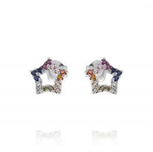 Star earrings with rainbow cubic zirconia