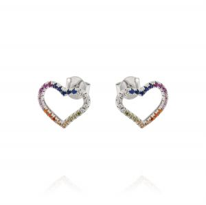Openwork heart errings with rainbow cubic zirconia