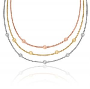 Fope necklaces with three plate and twelve balls