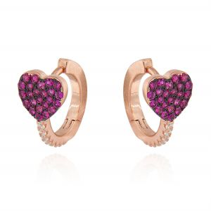 Hoop earrings with heart and cubic zirconia - variable color