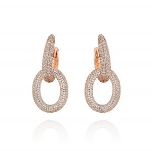 Earrings with two ovals and cubic zirconia - 3 mode jewels - variable color