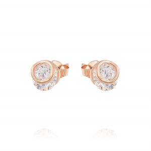 Earrings with cubic zirconia inside a ring - variable color