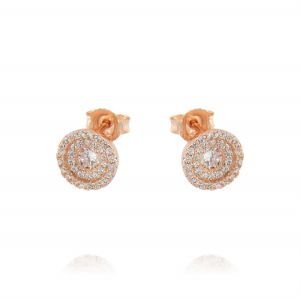 Cubic zirconia earrings with two row of raised cubic zirconia - variable color