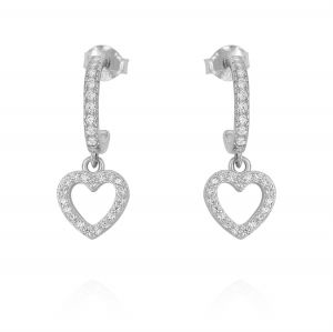 Mini hoop earrings with openwork heart and cubic zirconia - variable color