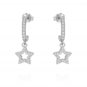 Mini hoop earrings with openwork star and cubic zirconia - variable color