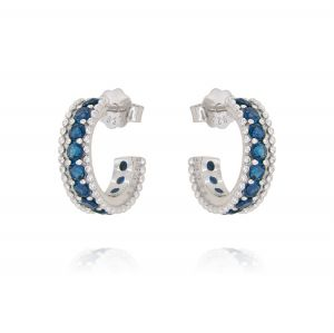 Mini hoop earrings with colored cubic zirconia - color variable