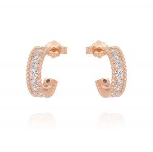 Mini hoop earrings with cubic zirconia - rosé