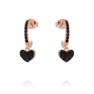 hoop earrings with pendant heart and black cubic zirconia - rosé plated