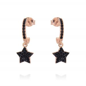 Hoop earrings with pendant star and cubic zirconia - rosé plated
