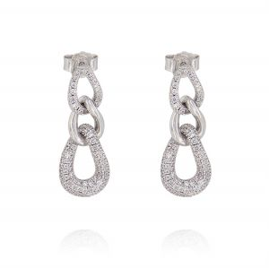 Curb chain earrings with cubic zirconia