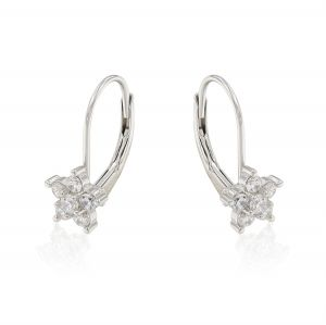 Flower shaped earrings with cubic zirconia and lever back closure