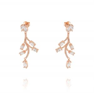 Branch-shaped earring with cubic zirconia - variable color