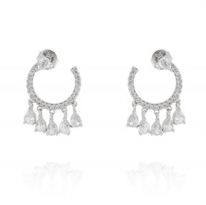 Open circle earrings with pendant cubic zirconia