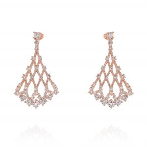 Rhombus-shaped earring with cubic zirconia - variable color