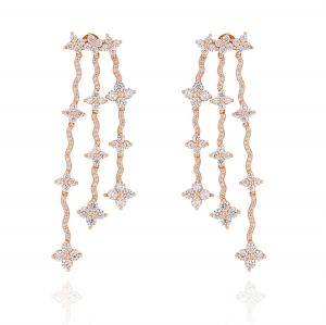 Pendant earrings with flower-shaped cubic zirconia
