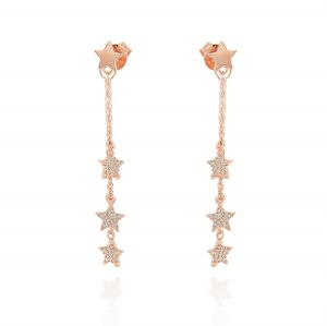 Star earrings with pendant chains and cubic zirconia stars - variable color