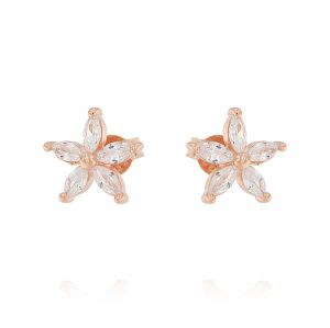 Flower earrings with cubic zirconia - rosé plated