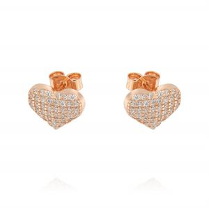 Heart earrings with cubic zirconia - rosé plated