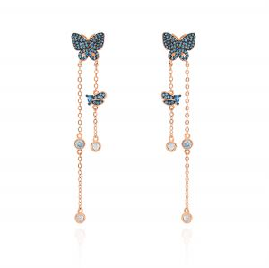 Butterfly earrings with chains and blue cubic zirconia - rosé plated