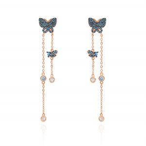 Orecchini farfalla con zirconi blu e catenelle pendenti - placcato rosé