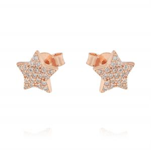 Star earrings with cubic zirconia - rosé plated