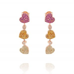 Orecchini con tre cuori pendenti con zirconi colorati - placcato rosé