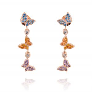 Three pendant butterflies earrings with colored cubic zirconia