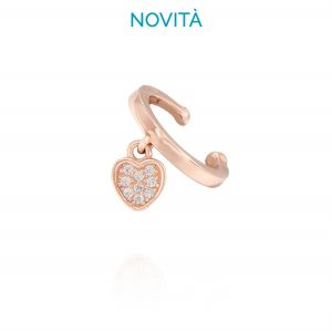 Heart shaped single earring Helix with cubic zirconia - variable color