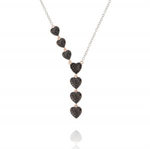 Y-shaped necklace with hearts with black  cubic zirconia - bicolored