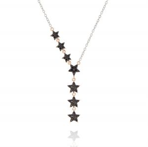 Y-shaped necklace with stars with black cubic zirconia - bicolored