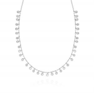 Necklace with 35 pendant white cubic zirconia