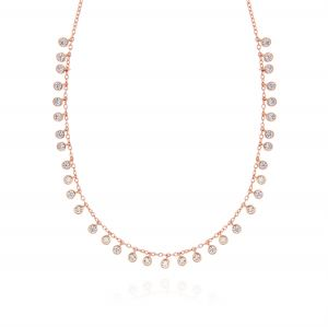 Necklace with 35 pendant white cubic zirconia - rosé plated