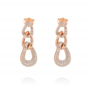 Curb chain earrings with cubic zirconia - rosé plated