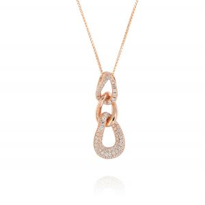 Necklace with curb chain pendant with cubic zirconia - rosé plated