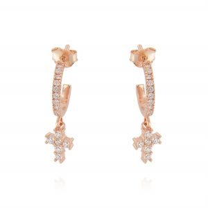 Mini hoop earrings with cross with cubic zirconia - rosé plated