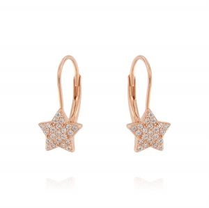 Leverback earrings with star with cubic zirconia - rosè plated