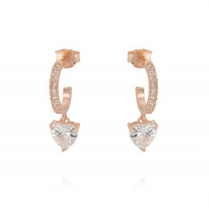 Hoop earrings with pendant heart-shaped cubic zirconia - rosé plated