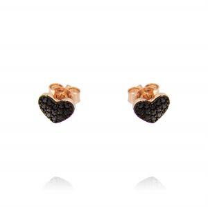Orecchini con cuore mini con zirconi neri - placcato rosé