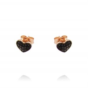Small heart earrings with black cubic zirconia - rosé plated