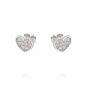 Flat heart earrings with cubic zirconia