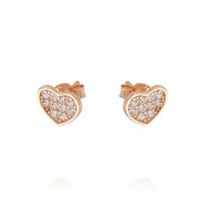 Flat heart earrings with cubic zirconia - rosé plated
