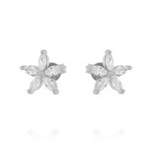 Flower earrings with cubic zirconia