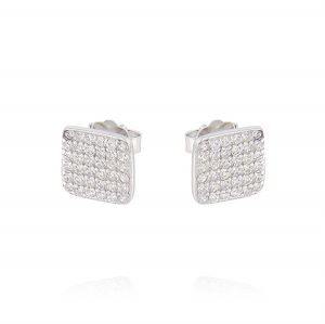 Flat square earrings with cubic zirconia