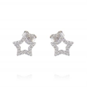Openwork star earrings with cubic zirconia