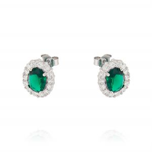 Royal earrings with oval stone – green stone